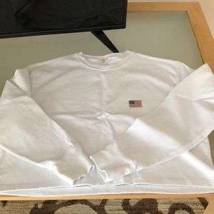 Brandy Melville US Flag Cropped Long Sleeve Top